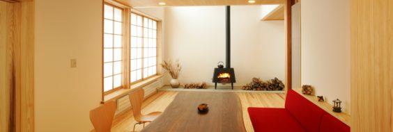 まちなか山荘の吉村障子と中村好文さんのデザインの薪ストーブ