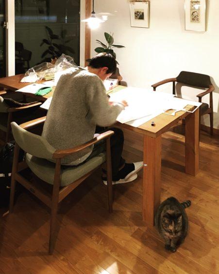 初オープンデスク生と猫